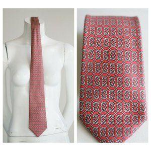 Hermes Pink Grey Geometric Micro Print Tie